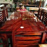 โต๊ะไม้แผ่นเดียว   ก100xย195 + เก้าอี้ 8  ตัว