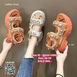 รองเท้าส้นเตารีด รัดส้น วัสดุพื้นpu น้ำหนักเบา สูง6cm อะไหล่เย็บติดแน่น ทรงสวย รัดส้นแบบจิกเทป ปรับระดับได้ อย่ารอช้า