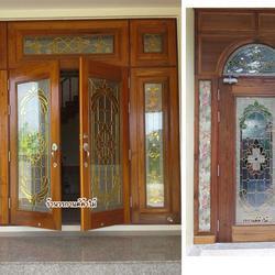 ประตูไม้สัก ,ประตูไม้สักกระจกนิรภัย, ประตูไม้สักบานคู่, ประตูไม้สักบานเดี่ยว ร้านวรกานต์ค้าไม้  door-woodhome.com รูปเล็กที่ 1