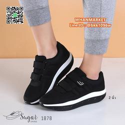 รองเท้าผ้าใบ พื้นสูง 2 นิ้ว ทำจากผ้าตาข่าย ตกแต่งขอบด้วยหนัง รูปเล็กที่ 1