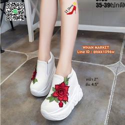 รองเท้าผ้าใบแบบสวม เสริมส้น 4.5 นิ้ว วัสดุผ้าใบอย่างดี  รูปเล็กที่ 5