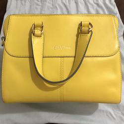 ขออนุญาตเปิด กระเป๋าถือและสะพาย Catch Kidston รุ่น The Henshall Leather Bag สีเหลืองสดใส รุ่นนี้วัสดุหนังแท้  รูปเล็กที่ 4