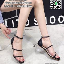 รองเท้าส้นสูง สายคาดหน้า 2 ตอน โชว์ผิวเท้า สายรัดข้อตะขอเกี่ยว ส้นอะคลีลิค สูง 2 นิ้ว รูปเล็กที่ 4