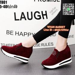 รองเท้าผ้าใบเสริมส้น สูง 2.5 นิ้ว วัสดุหนังสักหลาด รูปเล็กที่ 6