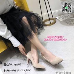 รองเท้าคัทชู หนังกลับนิ่ม หัวแหลม สูง 3.5 นิ้ว แพทเทรินสวย รูปเล็กที่ 5