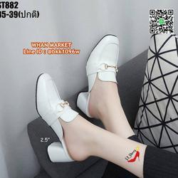 รองเท้าคัชชูเปิดท้าย ส้นเหลี่ยม สูง 2.5 นิ้ว วัสดุหนังแก้ว รูปเล็กที่ 1