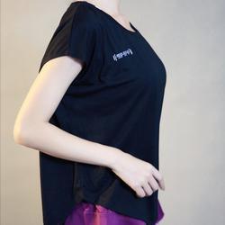 ชุดออกกำลังกายผู้หญิง เสื้อกีฬาผู้หญิง ใส่สบาย ระบายความร้อนได้ดี (สีดำ) รูปเล็กที่ 4