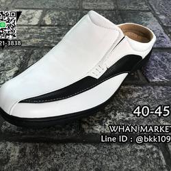 รองเท้าลำลองผู้ชาย วัสดุหนัง PU คุณภาพดี แบบเปิดส้น สวมใส่ง่ รูปเล็กที่ 3