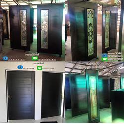ร้านวรกานต์ค้าไม้ จำหน่าย ประตูไม้สักบานคู่กระจกนิรภัย ประตูโมเดิร์น ประตูไม้สักบานเลื่อน รูปเล็กที่ 5