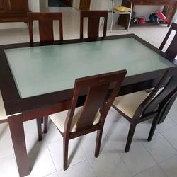 ชุดโต๊ะ พร้อมเก้าอี้ 6 ที่นั่ง  ขนาดโต๊ะ 165x90 cm. รูปเล็กที่ 1