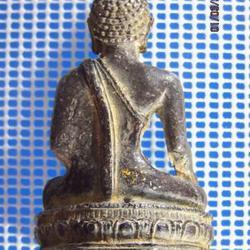 5131 พระบูชาเนื้อตะกั่วสนิมแดง ปิดทองเก่า ฐานกว้าง 1.4 นิ้ว  รูปที่ 4