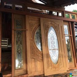 ประตูไม้สัก,ประตูไม้สักกระจกนิรภัย www.door-woodhome.com ร้านวรกานต์ค้าไม้ รูปเล็กที่ 1