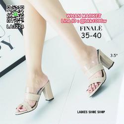 รองเท้าส้นตัน สูง 3.5 นิ้ว วัสดุหนังแก้วนิ่ม ทรงสวม แต่งซิลิ รูปเล็กที่ 5