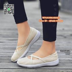 รองเท้าผ้าใบลำลอง ทำจากผ้าใบยืดหยุ่นได้ดี มีสายยางยืดรัดหน้า รูปเล็กที่ 4
