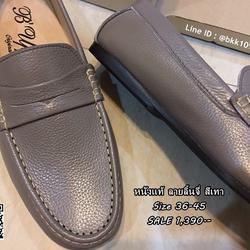 รองเท้าคัชชูหนังแท้ลายลิ้นจี่ สีเทา ตะเข็บขาว พื้นเรียบ   รูปเล็กที่ 5