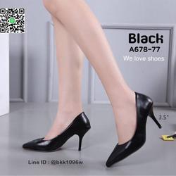 รองเท้าคัชชู ส้นสูง 3.5 นิ้ว หนังPUนิ่ม เงางาม ทรงหัวแหลม รูปเล็กที่ 3