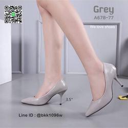 รองเท้าคัชชู ส้นสูง 3.5 นิ้ว หนังPUนิ่ม เงางาม ทรงหัวแหลม รูปเล็กที่ 5