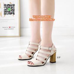 รองเท้าส้นสูง 3.5 นิ้ว รัดส้น วัสดุหนังpuนิ่ม ส้นลายไม้น่ารั รูปเล็กที่ 1