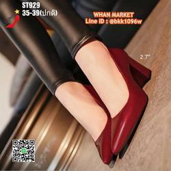 รองเท้าคัชชู ส้นแท่ง สูง 2.7 นิ้ว หัวแหลม วัสดุหนังแก้ว  รูปเล็กที่ 3