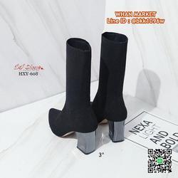 รองเท้าบูทส้นสูง 3 นิ้ว หัวแหลม วัสดุผ้ายืดหนาอย่างดี  รูปเล็กที่ 4