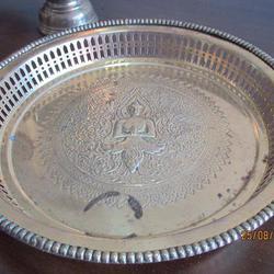 3787 เครื้องใช้ชุดทองเหลืองลาย เทพพนม มี ขัน พาน ทับพี ถาดสู รูปเล็กที่ 1