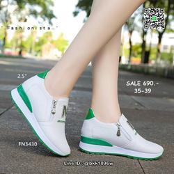 รองเท้าผ้าใบเสริมส้น วัสดุ pu เนื้อหนานุ่ม แต่งซิปคู่ด้านหน้ รูปเล็กที่ 4