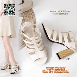 รองเท้าส้นสูง 3.5 นิ้ว รัดส้น วัสดุหนังpuนิ่ม ส้นลายไม้น่ารั รูปเล็กที่ 5