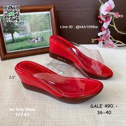 รองเท้าส้นเตารีด พลาสติกใสนิ่ม น้ำหนักเบา สูง 2.5 นิ้ว  รูปเล็กที่ 4