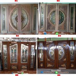 ร้านวรกานต์ค้าไม้ จำหน่าย ประตูไม้สักบานคู่กระจกนิรภัย ประตูโมเดิร์น ประตูไม้สักบานเลื่อน รูปเล็กที่ 1