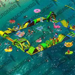 เครื่องเล่นสวนน้ำ obstacle game 20X15M เครื่องเล่นสวนน้ำ อุปสรรค 20X15M รูปเล็กที่ 1