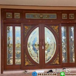 ประตูไม้สักกระจกนิรภัย , ประตูไม้สักบานคู่ ร้านวรกานต์ค้าไม้ door-woodhome.com รูปเล็กที่ 2