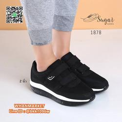 รองเท้าผ้าใบ พื้นสูง 2 นิ้ว ทำจากผ้าตาข่าย ตกแต่งขอบด้วยหนัง รูปเล็กที่ 3
