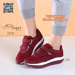 รองเท้าผ้าใบ พื้นสูง 2 นิ้ว ทำจากผ้าตาข่าย ตกแต่งขอบด้วยหนัง รูปเล็กที่ 2