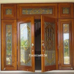 ประตูไม้สักบานเลื่อน ประตูไม้สักกระจกนิรภัย รูปเล็กที่ 4