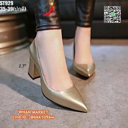 รองเท้าคัชชู ส้นแท่ง สูง 2.7 นิ้ว หัวแหลม วัสดุหนังแก้ว  รูปเล็กที่ 6