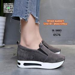 รองเท้าผ้าใบเสริมส้น สูง 3 นิ้ว สไตล์เกาหลี วัสดุหนังสักกะหล รูปเล็กที่ 1