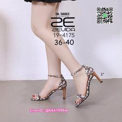 รองเท้าส้นสูง 3นิ้ว วัสดุผ้าพิมพ์ลาย รัดข้อตะขอเกี่ยว  รูปเล็กที่ 4