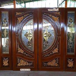 ร้านวรกานต์ค้าไม้ จำหน่าย ประตูไม้สัก กระจกนิรภัย,ประตูบานเลื่อนไม้สัก รูปเล็กที่ 1