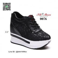 รองเท้าผ้าใบเสริมส้น วัสดุลูกไม้+หนัง PU แพลตฟอร์มเกาหลี  รูปเล็กที่ 2