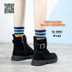 รองเท้าบูทสไตล์เกาหลี หนังPU มีเชือกปรับกระชับเท้า ทรงสวยมาก รูปเล็กที่ 4
