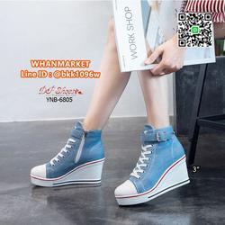 รองเท้าผ้าใบหุ้มข้อ เสริมส้น 3 นิ้ว วัสดุผ้าแคนวาส ส้นPU  รูปเล็กที่ 6