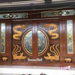 ประตูไม้สักกระจกนิรภัย , ประตูไม้สักบานคู่ ร้านวรกานต์ค้าไม้ door-woodhome.com รูปเล็กที่ 3