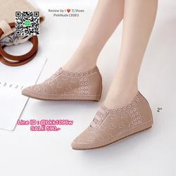 รองเท้าคัชชู เสริมส้น 2 นิ้ว วัสดุหนังPUนิ่ม ปักลายหัวใจ น้ำหนักเบา ใส่นุ่มสบายมากๆ ส้นยางเกรดพรีเมี่ยมอย่างดี  รูปเล็กที่ 6