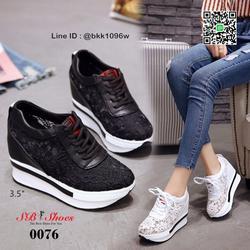 รองเท้าผ้าใบเสริมส้น วัสดุลูกไม้+หนัง PU แพลตฟอร์มเกาหลี  รูปเล็กที่ 6