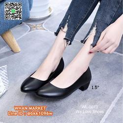 รองเท้าคัชชูสีดำ ส้นเหลี่ยม ส้นสูง 1.5 นิ้ว หนังPU อย่างดี  รูปเล็กที่ 5