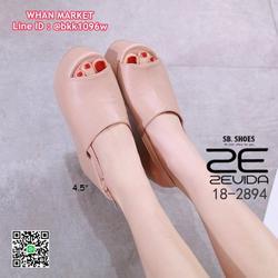 รองเท้าส้นเตารีด สูง 4.5 นิ้ว วัสดุหนัง pu งานคาดหน้า รัดข้อ รูปเล็กที่ 5
