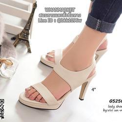 รองเท้าส้นสูงรัดส้น สายรัดแบบยางยืด ทรงสวยมากๆๆๆ เสริมหน้า 0.5 นิ้ว ความสูง 4 นิ้ว รูปเล็กที่ 2