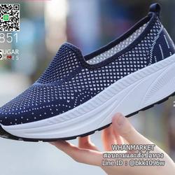 รองเท้าผ้าใบลำลอง เสริมส้น 2 นิ้ว วัสดุผ้าทอตาข่ายอย่างดี  รูปเล็กที่ 1