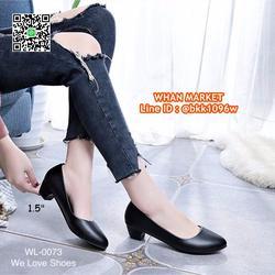 รองเท้าคัชชูสีดำ ส้นเหลี่ยม ส้นสูง 1.5 นิ้ว หนังPU อย่างดี  รูปเล็กที่ 2