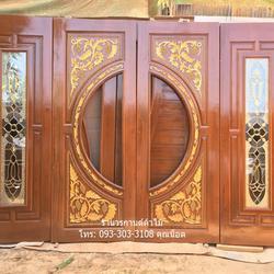 ประตูไม้สักบานเลื่อน ประตูไม้สักกระจกนิรภัย รูปเล็กที่ 3